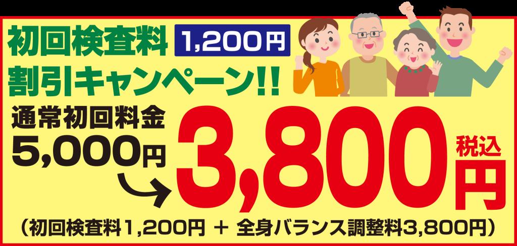 初回検査料1,200円割引キャンペーン!!
